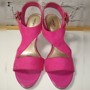 East 5th hot pink cross-strap high heel size: #9.5